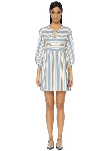 Belle Epoque Çizgili Mini Elbise Mavi